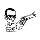 Illustration vector hand drawn doodle of man in suit holding gun Royalty Free Stock Photos