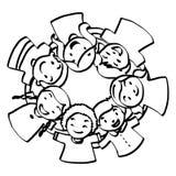 Illustration vector hand drawn doodle of seven children huddled Royalty Free Stock Photo