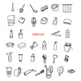 Illustration vector hand drawn doodles of objects in toilet set. Stock Photos