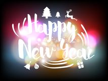 Happy new year greeting card with colorful  bokeh background. Illustration vector of happy new year greeting card with colorful  bokeh background Stock Photos