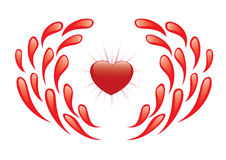 Illustration - vector heart and drops of blood Royalty Free Stock Image