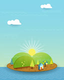 Illustration vector, House on peaceful island, Sun with blue sky. Fantasy of blue colour little home on the beach. Tree, flower and green hill with sunshine vector illustration