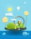 Illustration vector, House on peaceful island, Sun with blue sky. Fantasy home on the similar island. Tree, flower and green hill with sunshine and rainbow, Hot vector illustration