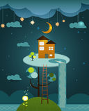 Illustration vector , house on peaceful landscape,night sky back. Fantasy of orange colour home above the tree on the blue night sky background. Abstract image Royalty Free Stock Photography