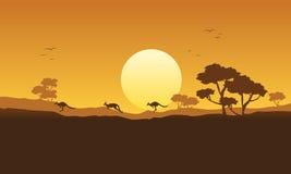 Illustration vector kangaroo scenery silhouette Royalty Free Stock Photos