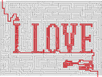 Illustration of vector labyrinth with - I love Royalty Free Stock Photography