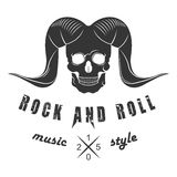 Illustration Vector Logo of Rock Music. Illustration of  logo for rock and roll of music festival on a white background. Skull with horns for poster or template Stock Photography