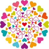 Illustration vector mandala, hearts icons, multicolored. Love symbol in circle, colorful vector illustration