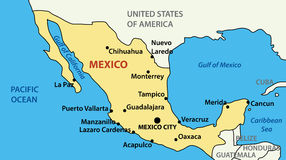 Illustration - vector map of United Mexican States Royalty Free Stock Images