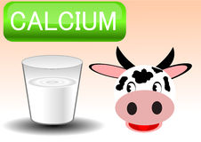 Illustration vector of milk glass and cow Stock Photography