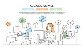 Illustration of vector modern line flat design customer service composition Stock Image