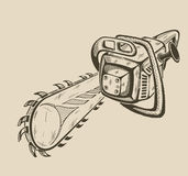 Illustration of vector monochrome chainsaw Stock Photography