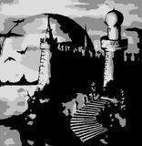 Illustration - vector old dark castle Stock Photos