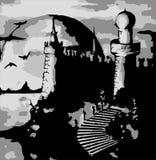 Illustration - vector old dark castle. Vector illustration - old dark castle Stock Photos