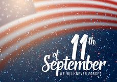 Vector Patriot Day Poster. Paper Lettering September 11th on Realistic American Flag Background with Confetti Royalty Free Stock Photography