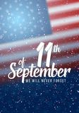 Vector Patriot Day Poster. Paper Lettering September 11th on Realistic American Flag Background with Confetti Stock Images