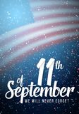 Vector Patriot Day Poster. Paper Lettering September 11th on Realistic American Flag   Royalty Free Stock Photo