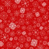 Illustration, vector pattern. image of snowflakes, winter. red background, white outline for the Christmas cards Stock Images