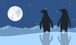 Illustration vector of penguin scenery stock illustration