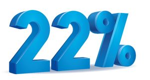 Percentage vector, 22. Illustration Vector of 22 percent blue color in white background Royalty Free Stock Images