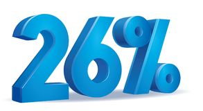 Percentage vector, 26. Illustration Vector of 26 percent blue color in white background Stock Image