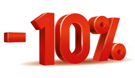Percentage vector, -10. Illustration vector of -10 percent isolated in white background Royalty Free Stock Image