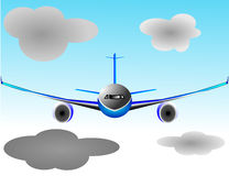 Illustration vector plane or airbus airplane. Illustration vector of airplane or airbus plane in frontal view in the sky with some clouds Stock Photo