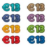 Illustration Vector of price 13 euro, Europe currency. EPS file available. see more images related Royalty Free Stock Images