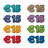 Illustration Vector of price 15 euro, Europe currency. EPS file available. see more images related Stock Images