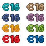 Illustration Vector of price 16 euro, Europe currency. EPS file available. see more images related Royalty Free Stock Image