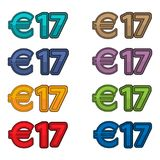 Illustration Vector of price 17 euro, Europe currency. EPS file available. see more images related vector illustration