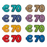 Illustration Vector of price 70 euro, Europe currency. EPS file available. see more images related Royalty Free Illustration