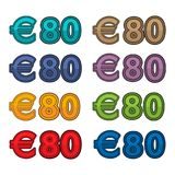 Illustration Vector of price 80 euro, Europe currency. EPS file available. see more images related Stock Image