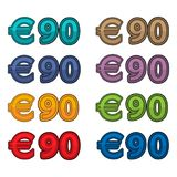 Illustration Vector of price 90 euro, Europe currency. EPS file available. see more images related Stock Photo