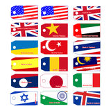 Illustration vector price tag with flag of many countries Stock Photo