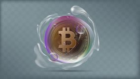 Illustration vector of realistic golden bitcoin in transparent colorful bubble with water splashing. Cryptocurrency investment concept Royalty Free Stock Photography