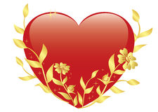 Illustration of vector red heart with gold plants Stock Photography