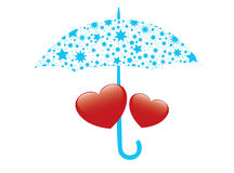 Illustration of vector red hearts and umbrella Royalty Free Stock Images