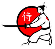 Illustration of vector samurai. With katana Royalty Free Stock Photo