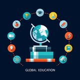 Illustration of vector school flat design. Illustration of modern vector school flat design composition Stock Image