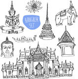 Illustration of vector set of Bangkok Stock Photography