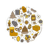 Illustration, vector set, Christmas symbols, the individual elements for holiday cards, posters, invitations. yellow Royalty Free Stock Image