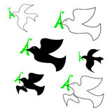 Illustration vector set of dove of peace with green eiffel tower Stock Photo