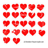 Illustration vector set of red broken heart isolated Stock Photography