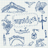 Illustration of vector set of Venice Stock Photos