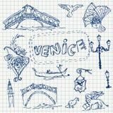 Illustration of vector set of Venice Stock Photos