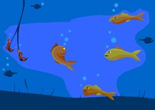 Several fish evil beautiful fish and make it Popasna on the hook of the fisherman. Illustration vector. Several fish evil beautiful fish and envy make his Stock Photography