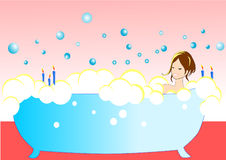 Illustration vector of sexy girl in the bathtub Royalty Free Stock Photo