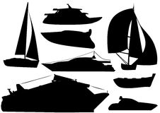 Illustration vector ship boat vehicle silhouettes. Illustration vector of ship and boat vehicle silhouettes over white background stock illustration