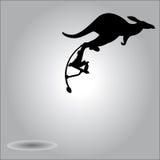 Illustration vector silhouette kangaroo jumping with stilts Stock Photos